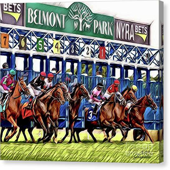 Belmont Park Starting Gate 2 Canvas Print