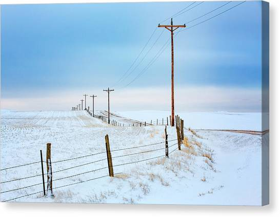 Utility Canvas Print - Bend In The Road by Todd Klassy