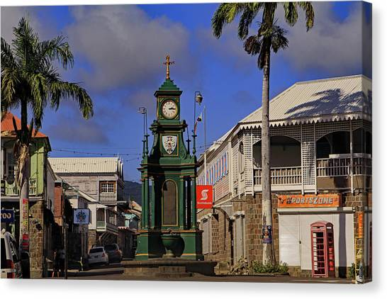 Canvas Print featuring the photograph Berkeley Memorial Clock by Tony Murtagh
