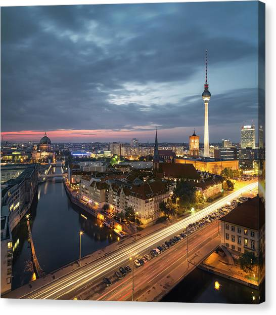 Berlin Cityscape Canvas Print by Rafael Dols