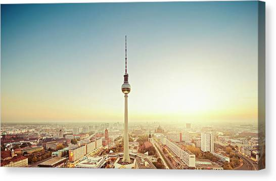 Berlin Cityscape With Fernsehturm At Canvas Print by Ricowde