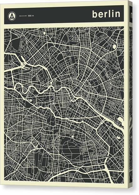 Berlin Canvas Print - Berlin Map 3 by Jazzberry Blue
