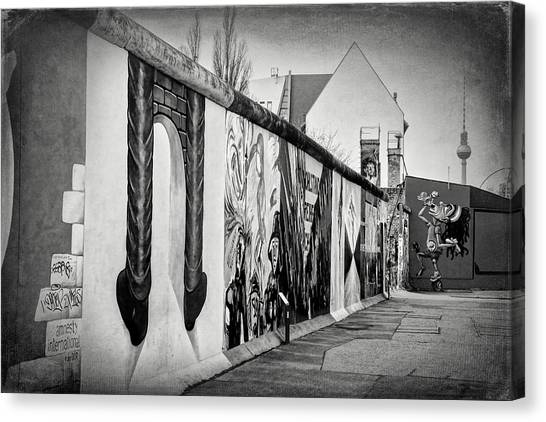 Tv Tower Canvas Print - Berlin Wall Germany Black And White by Carol Japp
