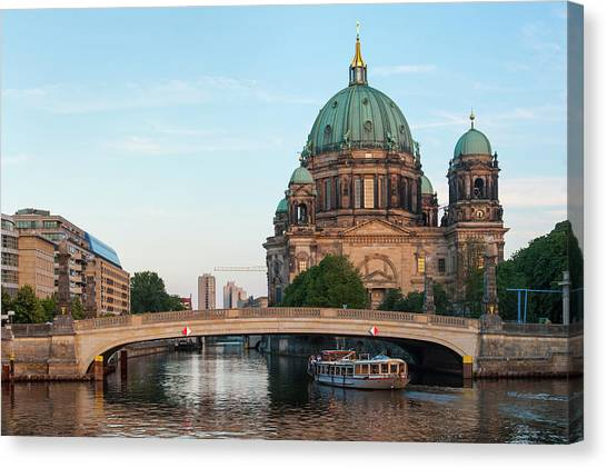 Berliner Dom And River Spree In Berlin Canvas Print
