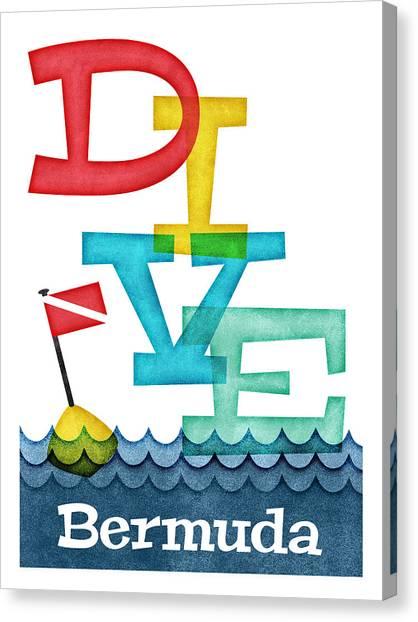 Scuba Diving Canvas Print - Bermuda Dive - Colorful Scuba by Flo Karp