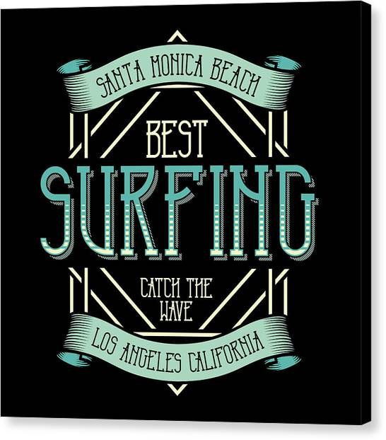 Surfboard Canvas Print - Best Surfing Cath The Wave California by Jk
