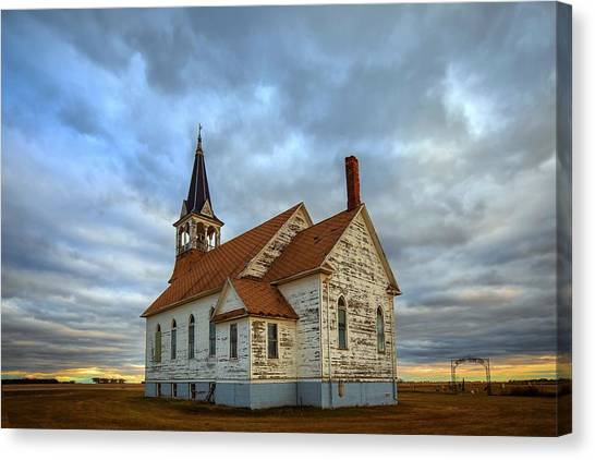 Bethel Scandinavian Lutheran Church At Sunset Canvas Print