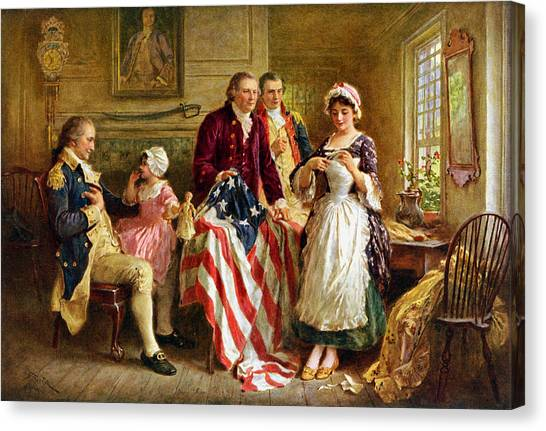Revolutionary War Canvas Print - Betsy Ross And General George Washington by War Is Hell Store