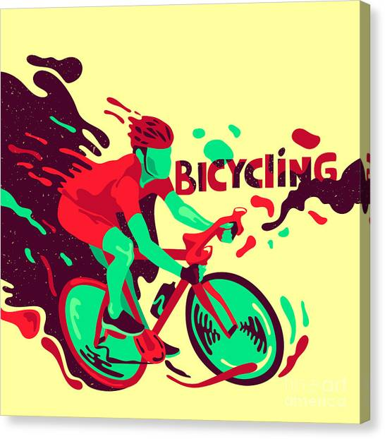 Cyclist Canvas Print - Bicycling. Healthy Lifestyle. Sports by Daria i