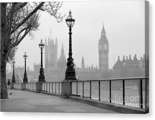 Big Ben & Houses Of Parliament, Black Canvas Print by Tkemot