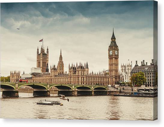 Big Ben And The Parliament In London Canvas Print by Knape
