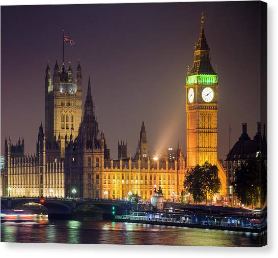 Big Ben At Night, London Canvas Print by Cescassawin