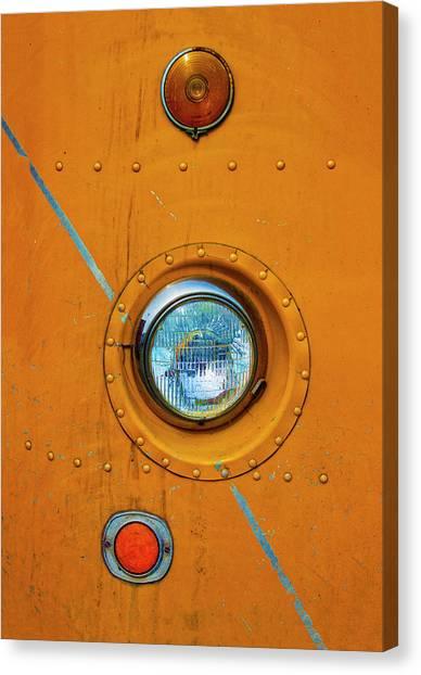 Old Truck Canvas Print - Big Dodge Truck Headlight by Carol Leigh