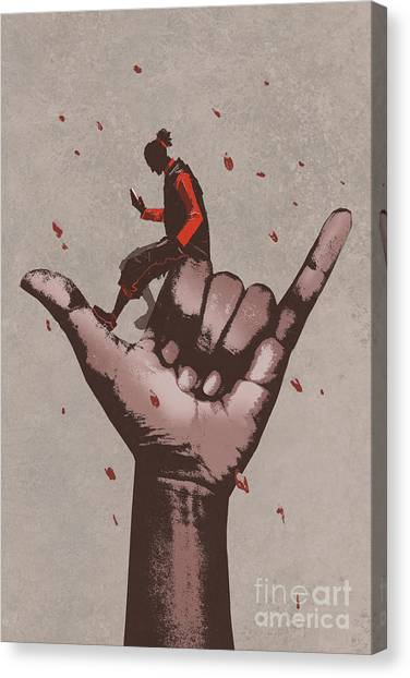 Acrylic Canvas Print - Big Hand In Call Me Sign With Man Using by Tithi Luadthong