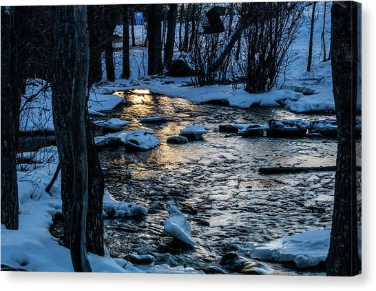 Big Hills Springs Under Snow And Ice, Big Hill Springs Provincia Canvas Print