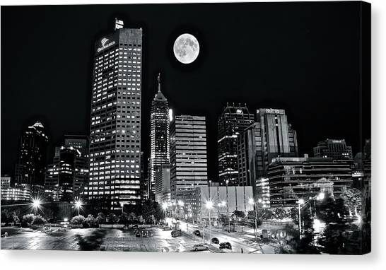 Indianapolis Canvas Print - Big Moon Indianapolis 2019 by Frozen in Time Fine Art Photography