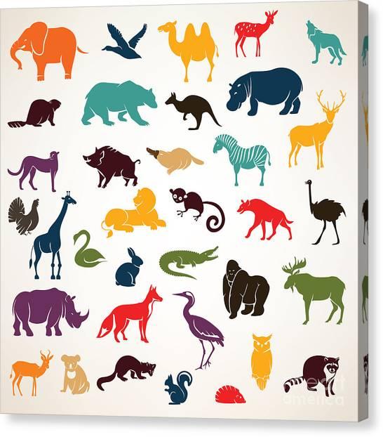 Zoology Canvas Print - Big Set Of African And European Animals by Baldyrgan
