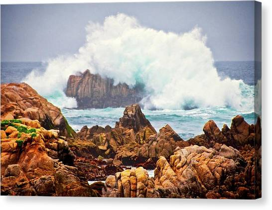 Big Splash, Asilomar State Beach, Pacific Grove, California Canvas Print