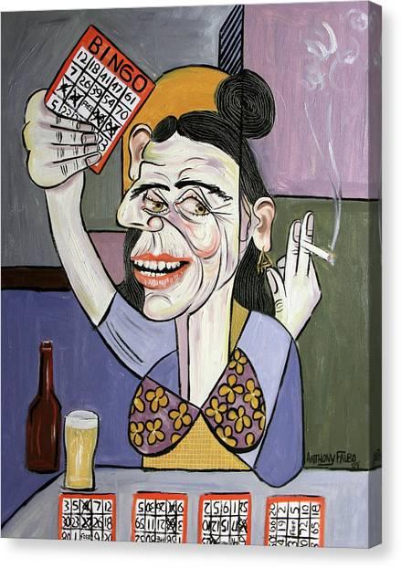 Cubism Canvas Print - Bingo Lady by Anthony Falbo