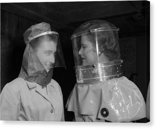 Protective Clothing Canvas Print - Biohazard Suits by Ron Case