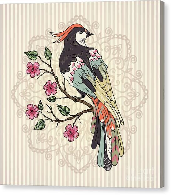 Illustration Canvas Print - Bird On A Branch Vector Illustration by Maria Sem