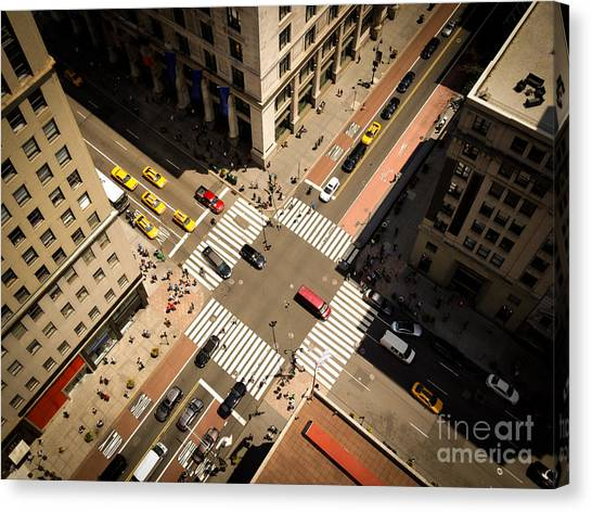 Birds Eye View Of Manhattan, Looking Canvas Print by Heather Shimmin