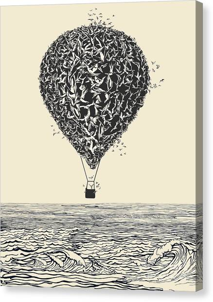 Birds Flock In Balloon Formation Flying Canvas Print by Ryger