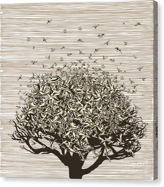 Birds Like Leaves On A Tree Canvas Print by Ryger