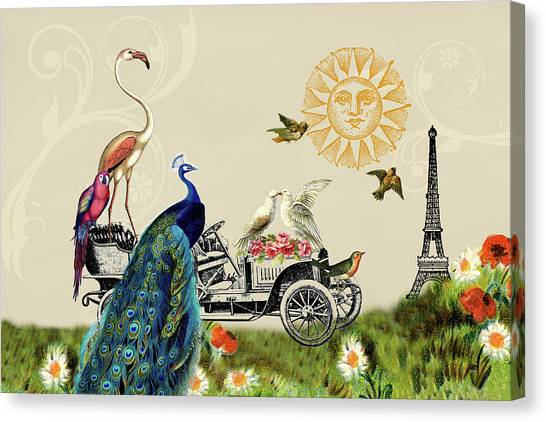 Birds Of A Feather In Paris, France Canvas Print