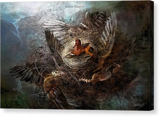 Pegasus Canvas Print - Birth Of Pegasus by Vitaliy Gladkiy