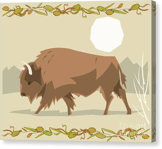 Cutout Canvas Print - Bison In A Decorative Illustration by Artistan