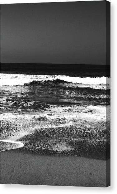 Greeting Canvas Print - Black And White Beach 7- Art By Linda Woods by Linda Woods