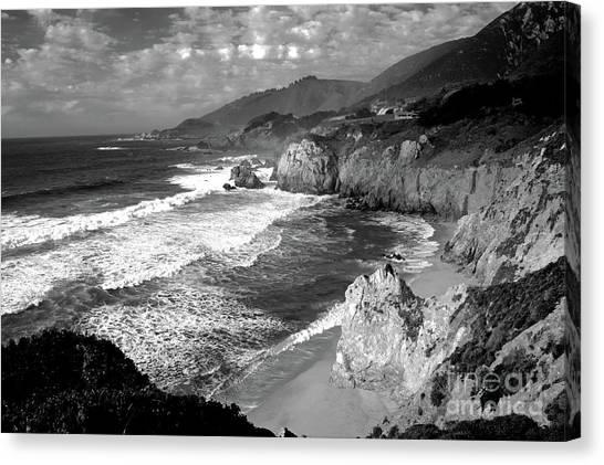 Black And White Big Sur Canvas Print