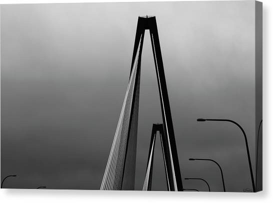 Black And White Bridge Abstract Canvas Print