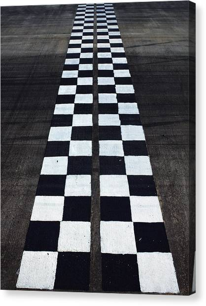 Black And White Finish Line Canvas Print by Win-initiative/neleman