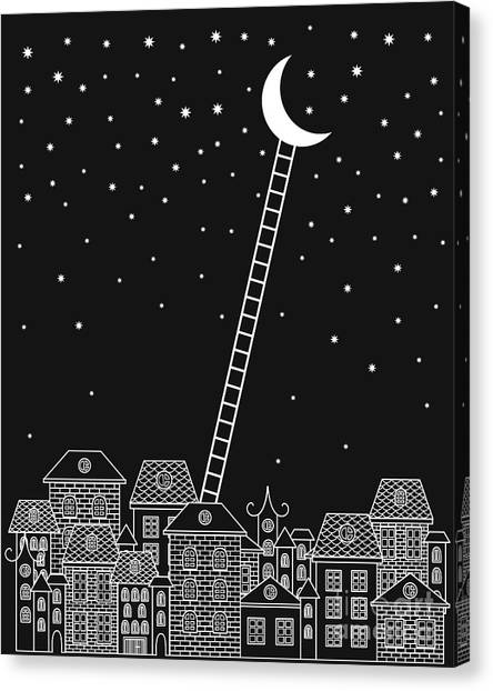 Bricks Canvas Print - Black And White To The Moon And Back by In dies magis