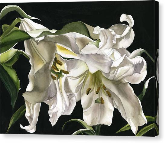Black And White With Green Canvas Print
