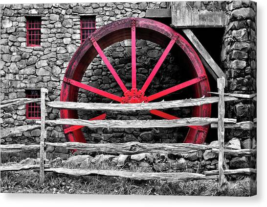 Black And White With Red - Grist Mill Canvas Print