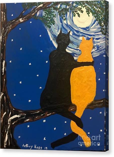 Sex Kitten Canvas Print - Black Cat In Love by Jeffrey Koss