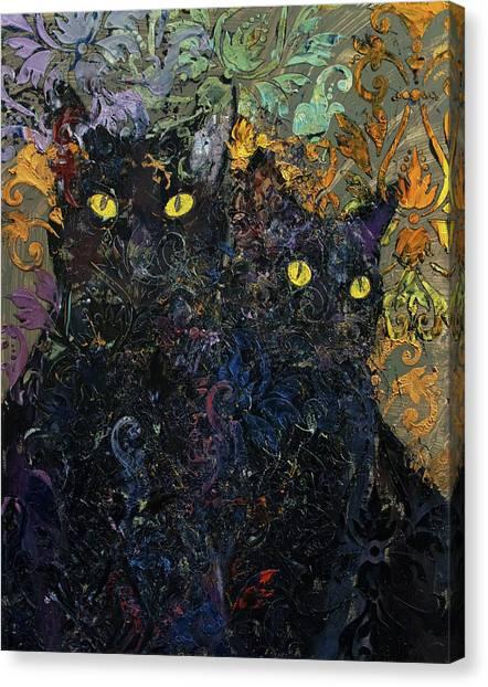 Karma Canvas Print - Black Cat Karma by Michael Creese