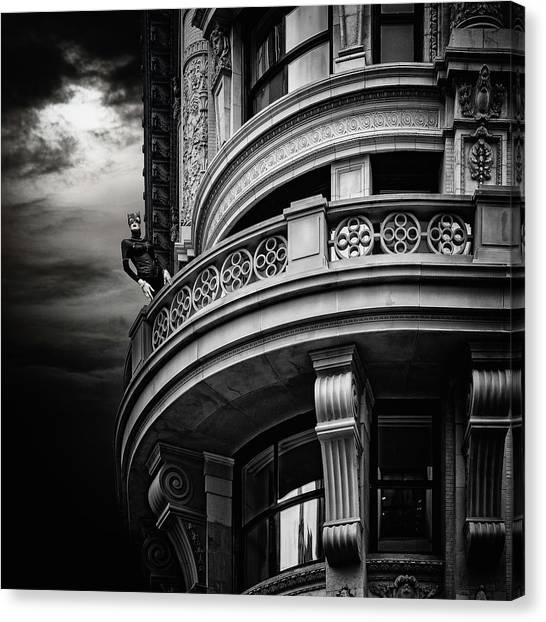 Canvas Print featuring the photograph Black Cat On A Fifth Avenue Balcony by Chris Lord
