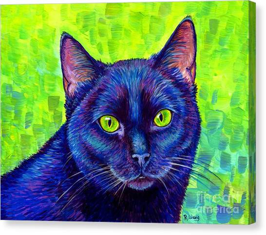 Black Cat With Chartreuse Eyes Canvas Print