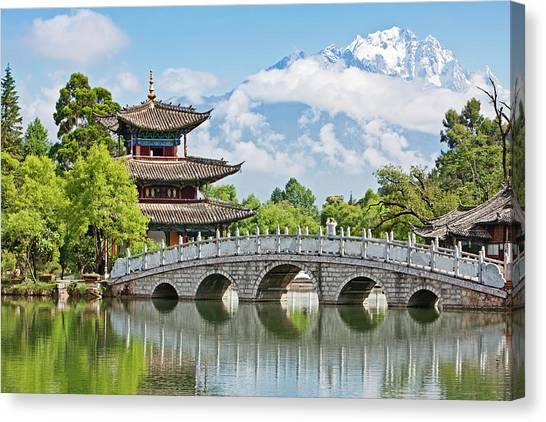China Town Canvas Print - Black Dragon Pool, Lijiang, Yunnan by John W Banagan