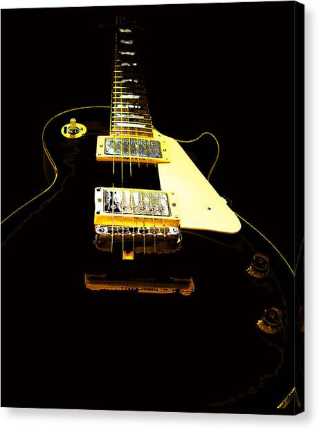 Black Guitar With Gold Accents Canvas Print