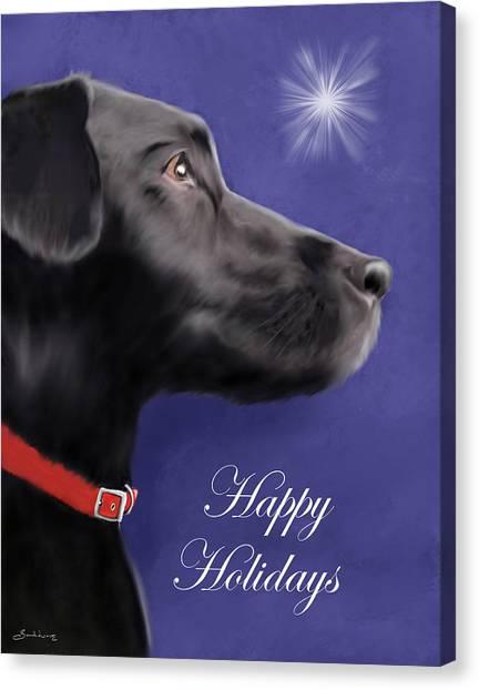 Black Labrador Retriever - Happy Holidays Canvas Print