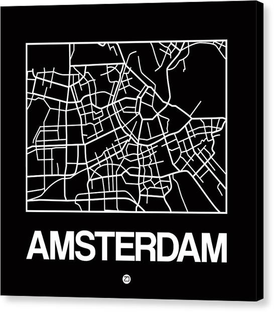 Holland Canvas Print - Black Map Of Amsterdam by Naxart Studio