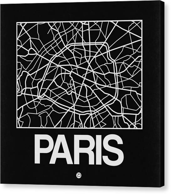 French Canvas Print - Black Map Of Paris by Naxart Studio