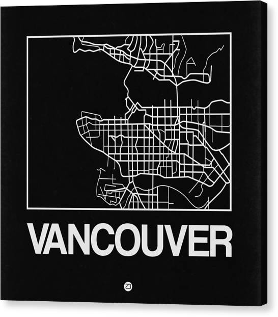 Vancouver Canvas Print - Black Map Of Vancouver by Naxart Studio