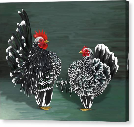 Black Mottled Serama Pair Canvas Print