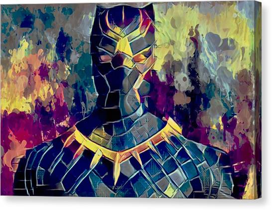 Canvas Print featuring the mixed media Black Panther by Al Matra